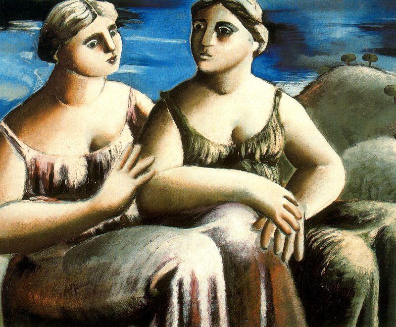 "Dos mujeres sentadas"", óleo sobre lienzo de Rafael Zabaleta Fuentes ..."