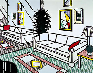 Roy Lichtenstein - interior con reflejado  pared