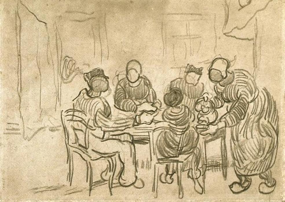 Bosquejo de la pintura Los comedores de patatas, yeso de Vincent Van ...