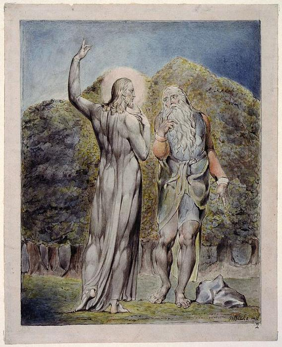 Cristo tentado por Satanás para convertir las piedras en pan, 1819 de William Blake (1757-1827, United Kingdom) | Grabados De Calidad Del Museo William Blake | WahooArt.com