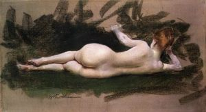 William Merritt Chase - desnuda reclinada