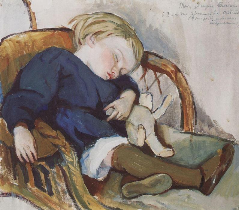 Así que el sueño Binka (Eugene Serebryakov), 1908 de Zinaida Serebriakova (1884-1967, Ukraine)