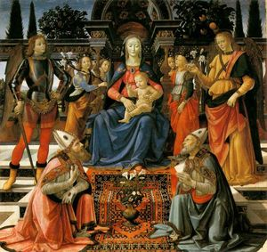 Domenico Ghirlandaio - virgen con el niño `enthroned` con santos