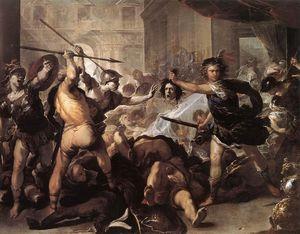 Perseo lucha contra Fineo y sus compañeros de Luca Giordano (1634 ...