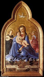 Master Of The Castello Nativity - madonna y niño con dos Ángeles ( Virgen of Humildad )