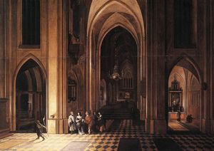 Pieter Neefs The Elder - interior de un iglesia
