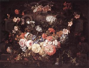Gaspar Pieter The Younger Verbruggen - Cartouche con Flores