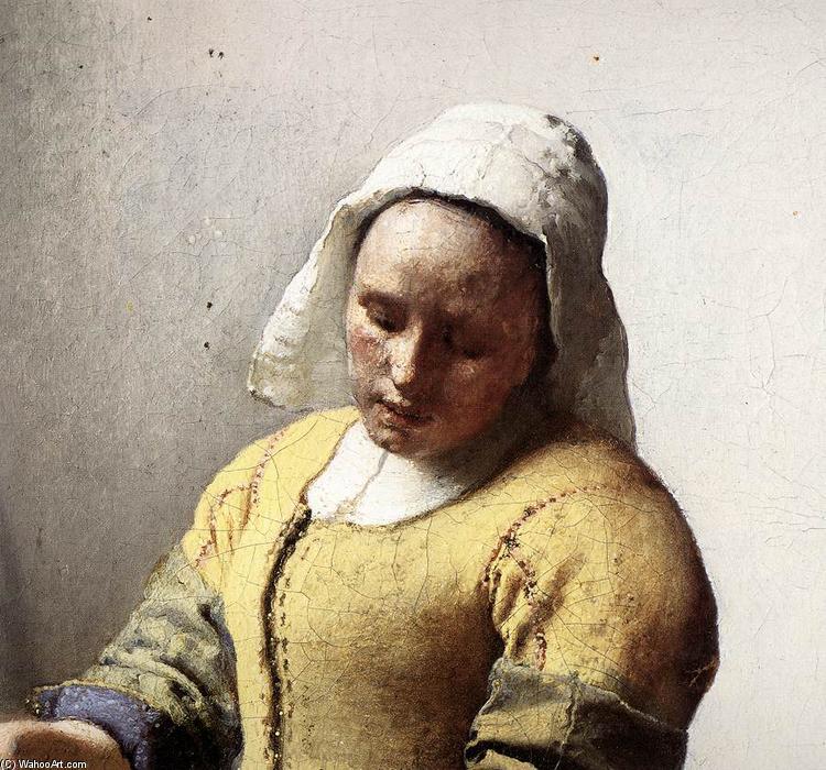 La lechera detalle leo sobre lienzo de jan vermeer - La lechera de vermeer ...