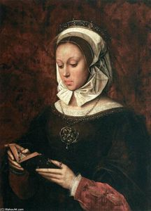 Ambrosius Benson - Young Mujer en Oración Reading un Libro of Horas