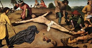 Gerard David - cristo `nailed` a la cruz
