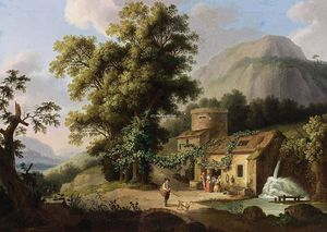 Jacob Philippe Hackert - Visión of el Copper-Mill en vietri