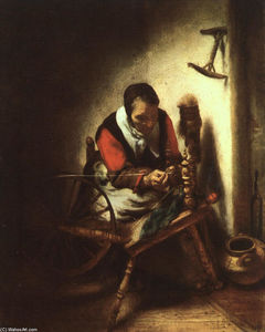 Nicolaes Maes - Un Spinning Mujer