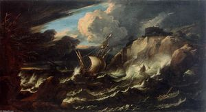 Pieter The Younger Mulier - tormenta de los casos mar