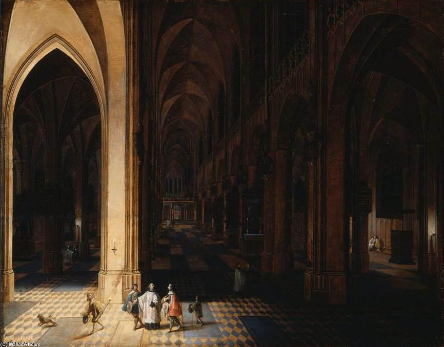 El interior of Antwerp Catedral en la noche, 1638 de Peeter Neeffs The Elder (1614-1652, Belgium) | WahooArt.com
