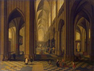 Peeter Neeffs The Younger - El interior of el Antwerp Catedral