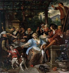 Jan Steen - compañía feliz en un Terrace