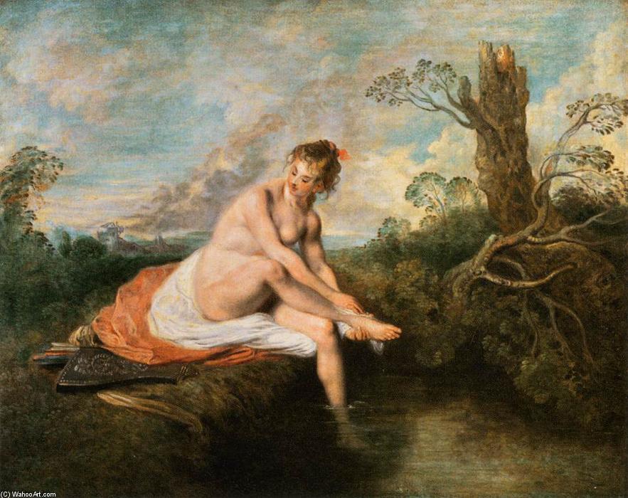 diana` a ella baño, óleo sobre lienzo de Jean Antoine Watteau