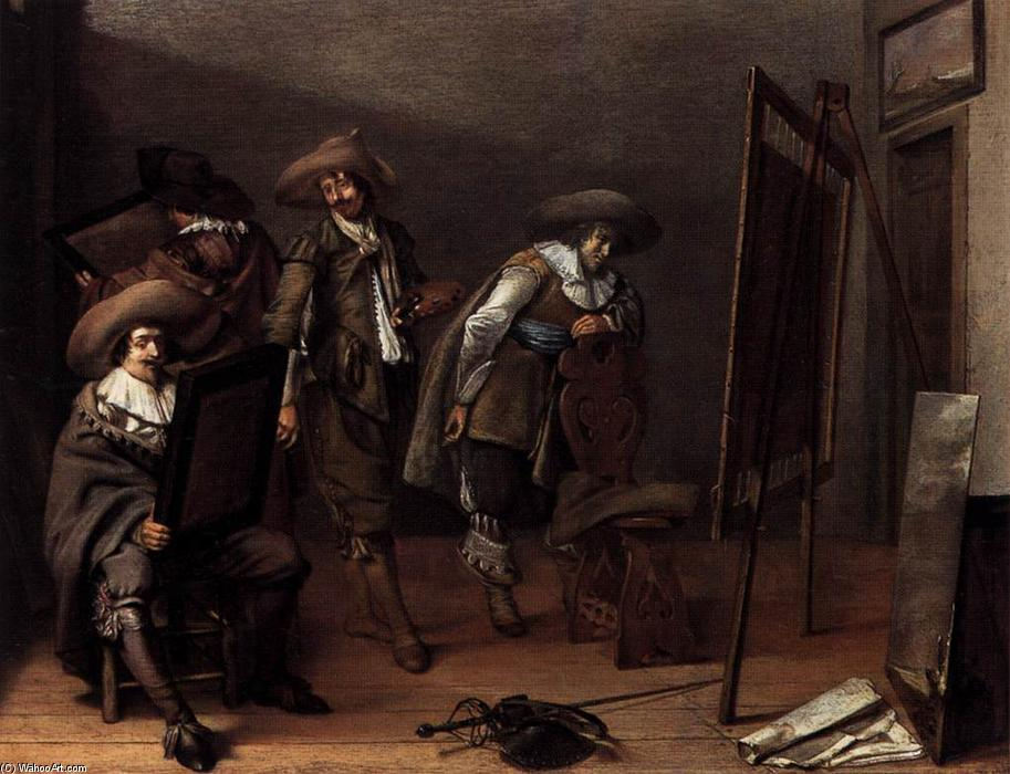 Art-lovers en un Painter's Estudio, Óleo sobre tabla de Pieter Jacobs Codde (1599-1678)
