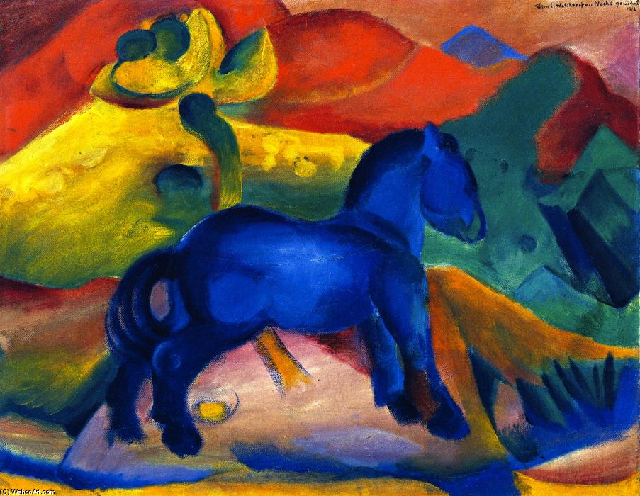 la pequeña azul caballo grabado porque Un niño , óleo sobre lienzo ...