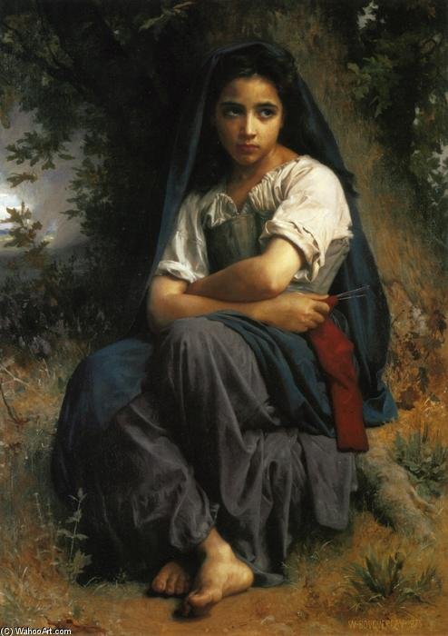El pequeño calcetero, óleo sobre lienzo de William Adolphe Bouguereau (1825-1905, France)