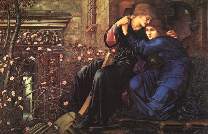 amor entre los ruinas, 1894 de Edward Coley Burne-Jones (1833-1898, United Kingdom) | Reproducciones De Arte Del Museo Edward Coley Burne-Jones | WahooArt.com