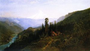 William Keith - Monte Hood de  Capucha  Río