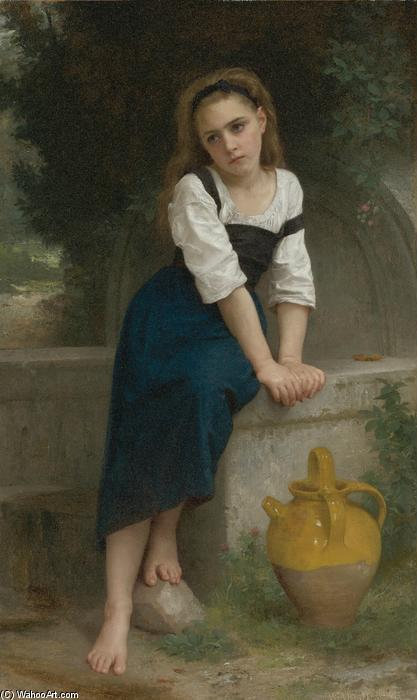 Orpheline à la fontaine, óleo sobre lienzo de William Adolphe Bouguereau (1825-1905, France)