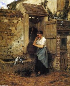 Henry Mosler - Muchacha campesina y palomas
