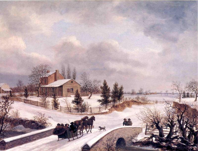 Pensilvania DE INVIERNO  escena , 1842 de Thomas Birch (1779-1851, United Kingdom) | WahooArt.com
