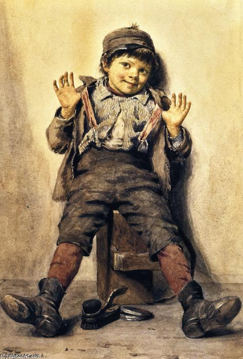 Perfectamente feliz, acuarela de John George Brown (1831-1913, United Kingdom)