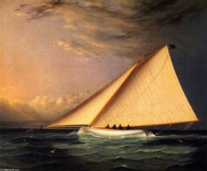 James Edward Buttersworth - A yate racing on el gran Sur Bay