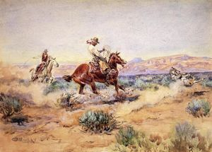 Charles Marion Russell - Roping un lobo