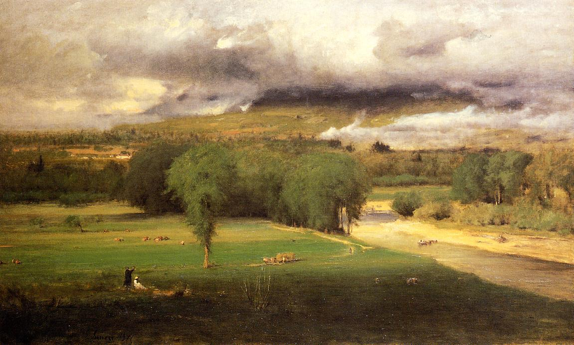 Sacco Ford: Conway Meadows, óleo sobre lienzo de George Inness (1825-1894, United States)
