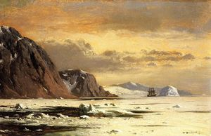 William Bradford - Paisaje marino con Icebergs