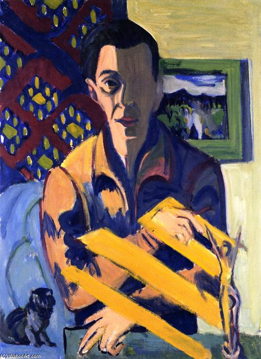 autorretrato, tiza de Ernst Ludwig Kirchner (1880-1938, Germany)