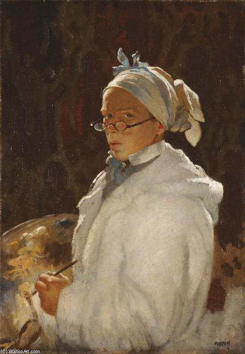 autorretrato con gafas, óleo sobre lienzo de William Newenham Montague Orpen (1878-1931, Ireland)