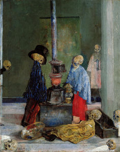 James Ensor - Esqueletos Tratando de calentarse