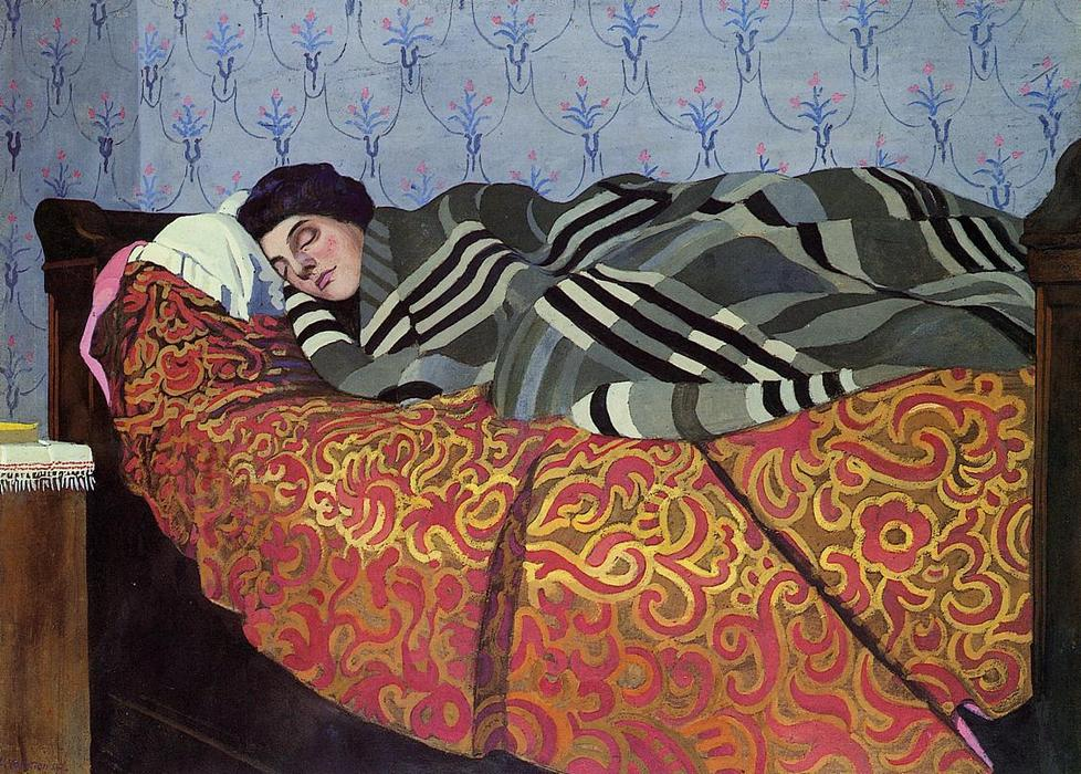 MUJER DORMIDA, Óleo sobre tabla de Felix Vallotton (1865-1925, Switzerland)