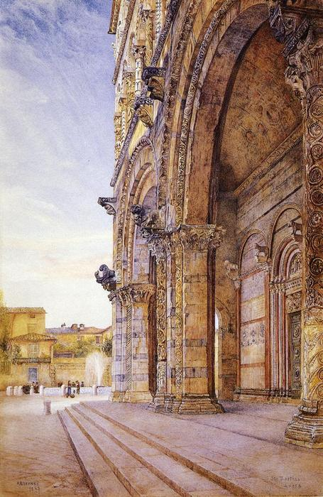 San Martino, Lucca, acuarela de Henry Roderick Newman (1833-1918, United States)