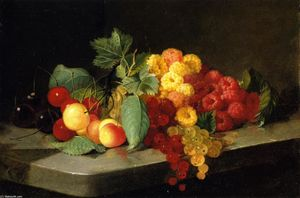 Lilly Martin Spencer (Angelique Marie Martin) - Still LIfe with Bayas and Grosellas