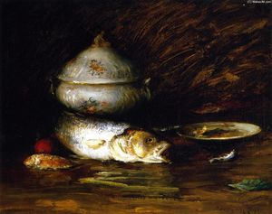 William Merritt Chase - bodegón con pescado