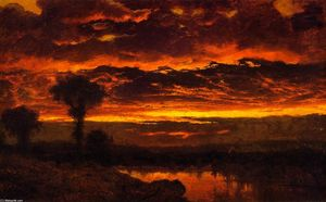 Louis Remy Mignot - Atardecer en