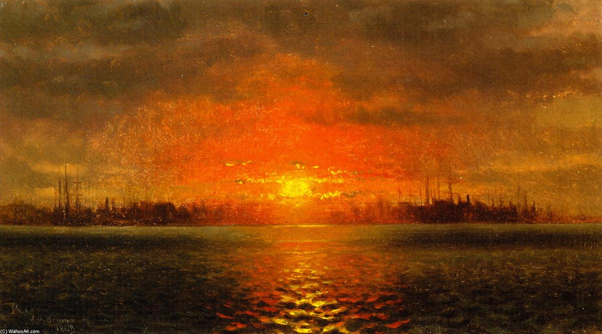 Atardecer , puerto de nueva york, 1863 de John George Brown (1831-1913, United Kingdom) | WahooArt.com