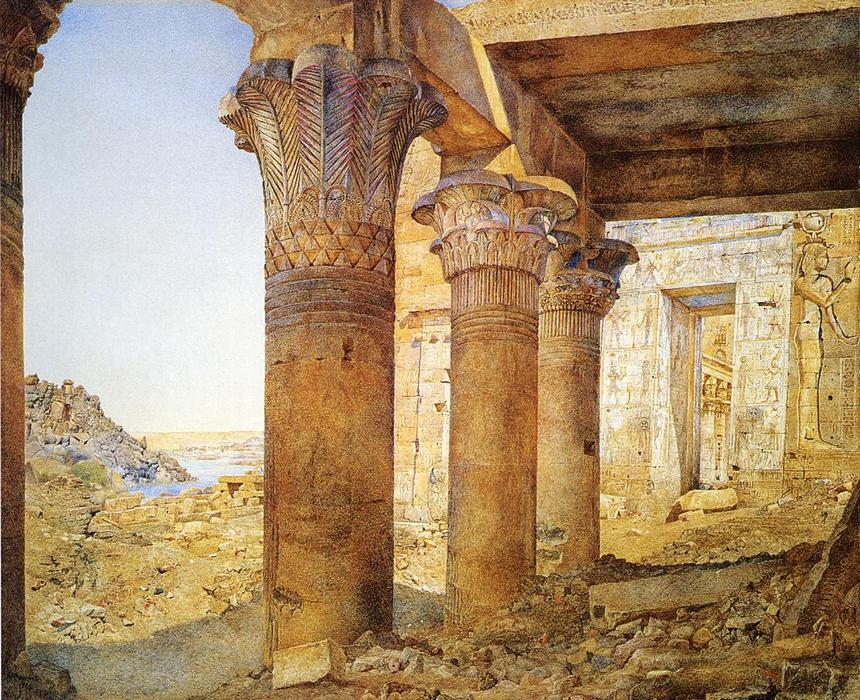 Temple of Philae desde el Neumático Court, acuarela de Henry Roderick Newman (1833-1918, United States)