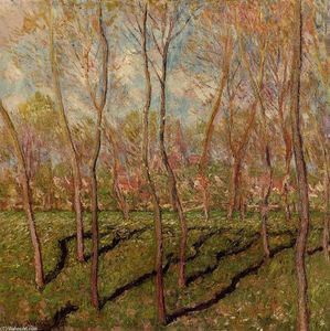 Claude Monet - arboles en invierno , Vista de Bennecourt