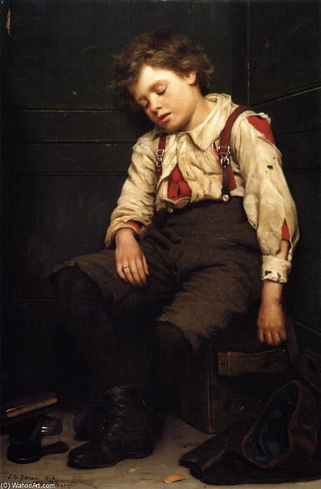 Tuckered, 1888 de John George Brown (1831-1913, United Kingdom) | WahooArt.com