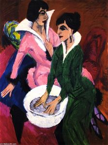 Ernst Ludwig Kirchner - Dos mujeres con Lavabo