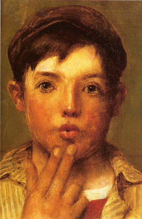 pilluelo Cabeza  todaclasede  niño , óleo sobre lienzo de John George Brown (1831-1913, United Kingdom)