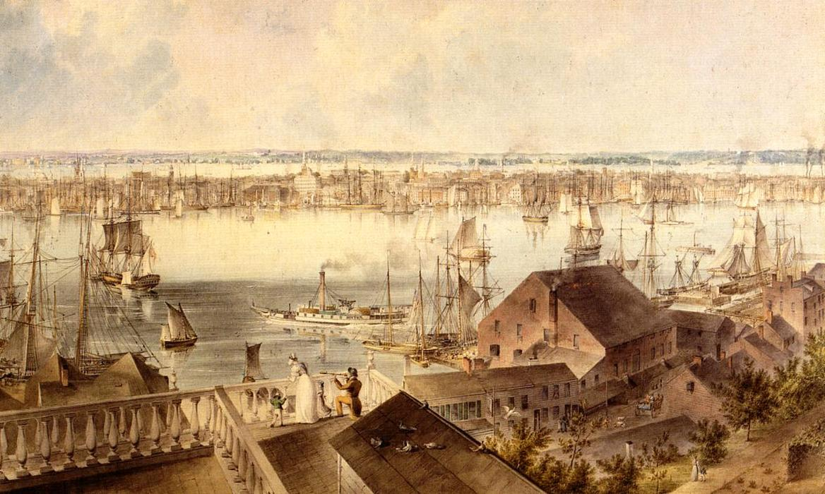 Vista de Nueva York de Brooklyn Heights, 1837 de John William Hill (1812-1879, United Kingdom) | Reproducciones De Calidad Del Museo | WahooArt.com