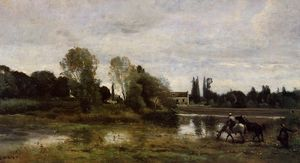 Jean Baptiste Camille Corot - Ville d Avray - The Place Caballos Riego